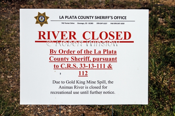 River Closed Sign, Animas River, Durango, Colorado, USA, North America