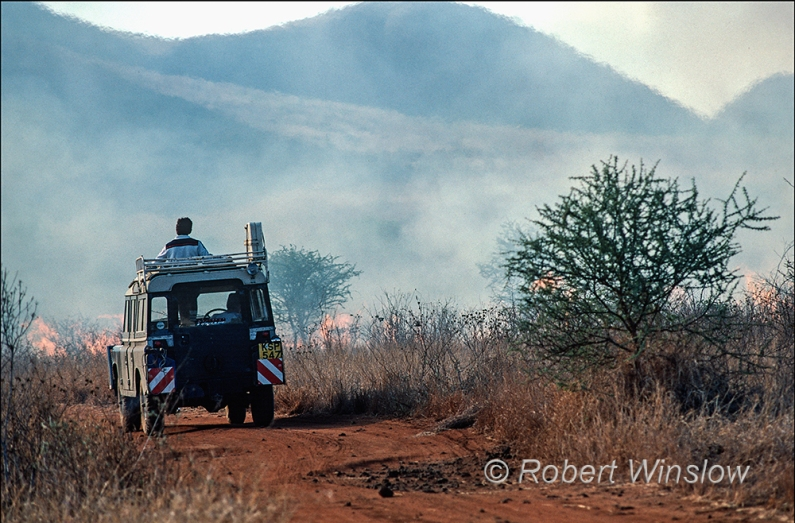 Driving Through a Brush Fire, Tsavo West, Kenya, Africa, 1983